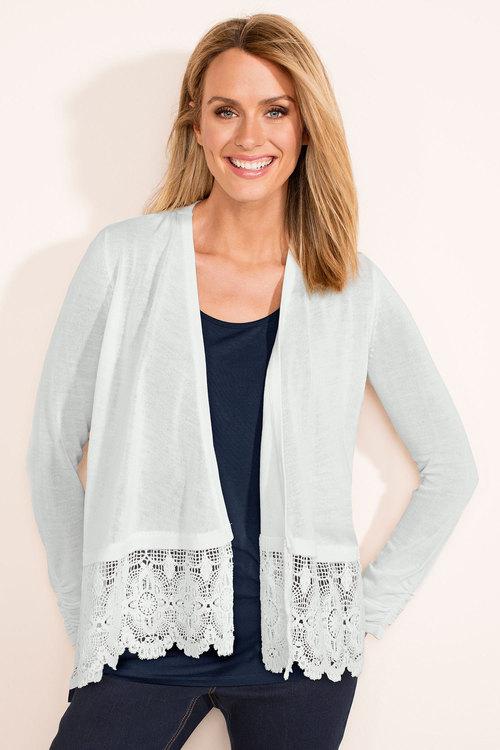Capture Lace Trim Cardigan Online | Shop EziBuy
