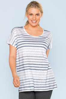 Plus Size - Sara Stripe Linen Tunic