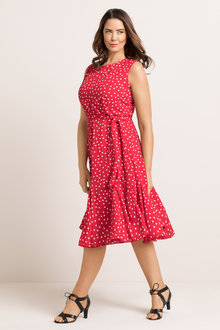 Plus Size - Sara Tie Godet Dress