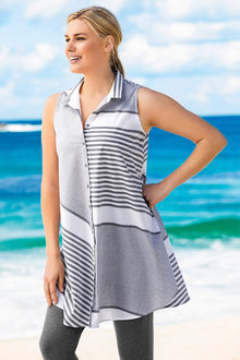 Plus Size - Sara Longline Sleeveless Stripe Shirt