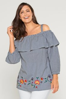 Plus Size - Sara Gingham Embroidered Off Shoulder Top