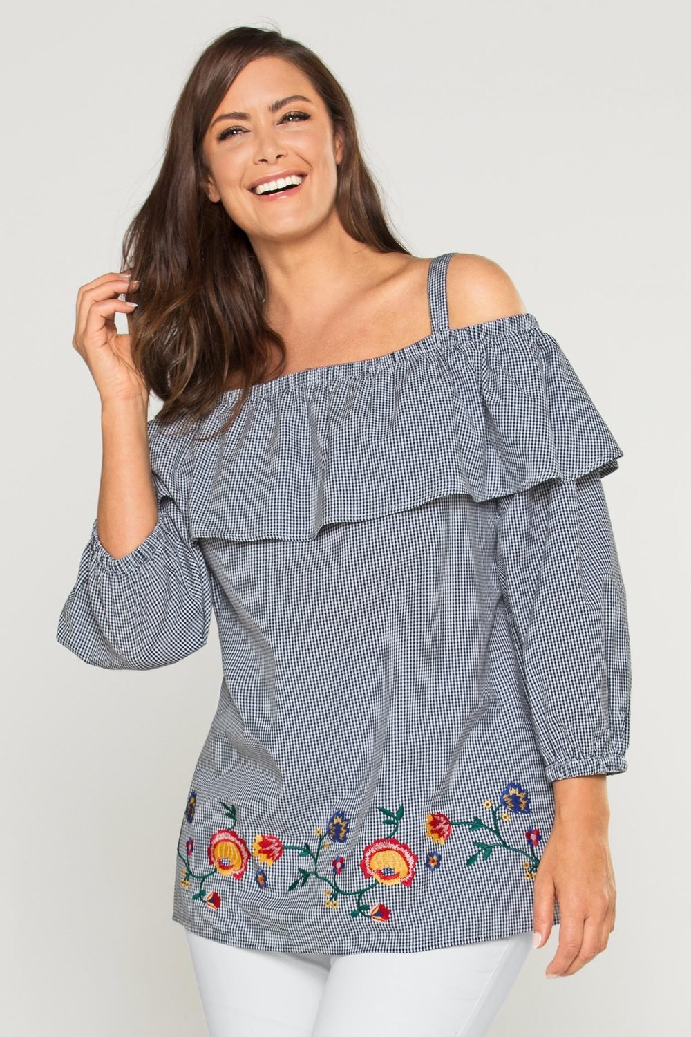 dc632150a5ae0a Plus Size - Sara Gingham Embroidered Off Shoulder Top