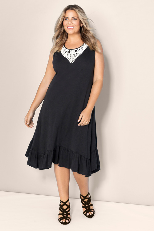Plus Size - Sara Sleeveless Lace Trim Dress