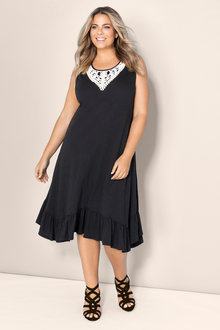Sara Sleeveless Lace Trim Dress - 183717