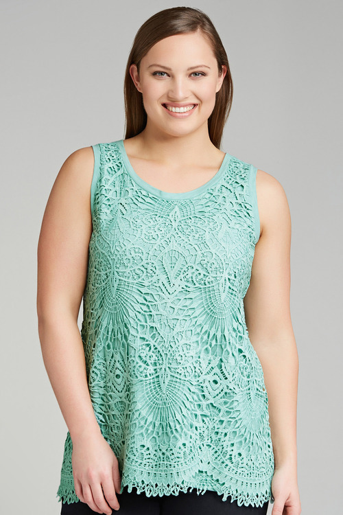 Plus Size - Sara Lace Front Tank