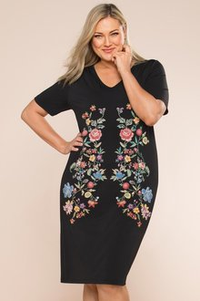 Plus Size - Sara Puff Print Dress
