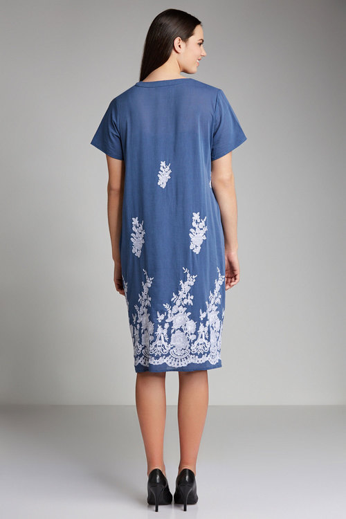 Plus Size - Sara Embroidered Swing Dress