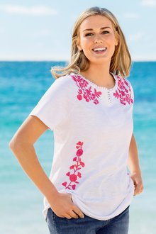 Plus Size - Sara Embroidered Notch Neck Tee