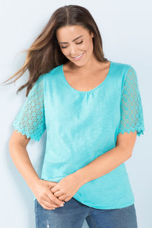 Plus Size - Sara Lace Sleeve Tee