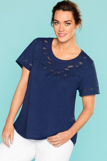Plus Size - Sara Laser Cut Embroidered Tee
