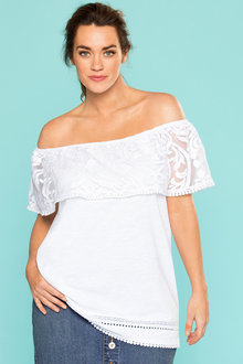 Plus Size - Sara Cotton and Lace Off Shoulder Tee