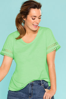 Plus Size - Sara Lace Trim Tee