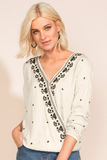 Capture Crossover Embroidered Top