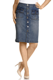 Plus Size - Sara Denim Button Through Skirt
