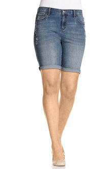 Plus Size - Sara Embroidered Denim Short