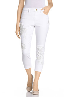 Capture Crop Applique Jeans
