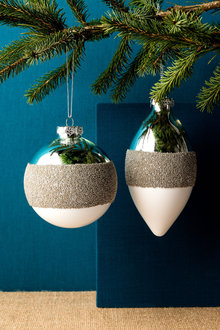 Glass Snow Dipped Ornaments Set of 2