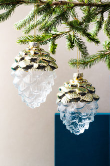 Glass Pinecone Ornaments Set of 2