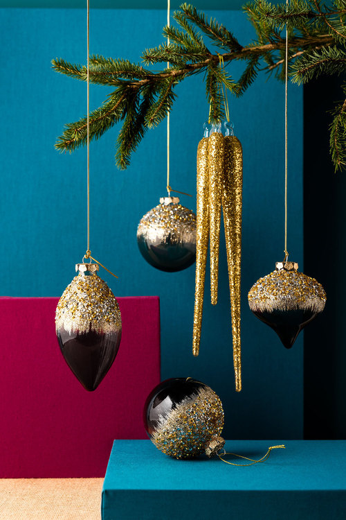 Jewel Encrusted Glass Ornaments Set of 3