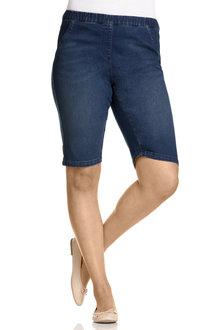 Plus Size - Sara So Slimming Denim Pull On Short