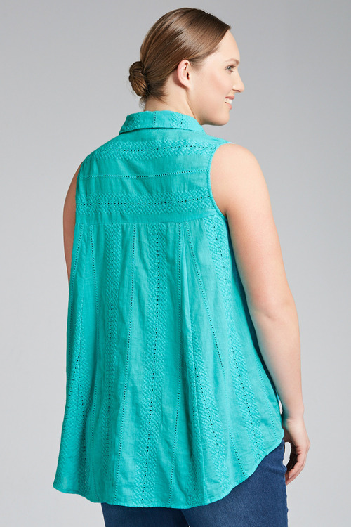 Plus Size - Sara Sleeveless Embroidered Shirt
