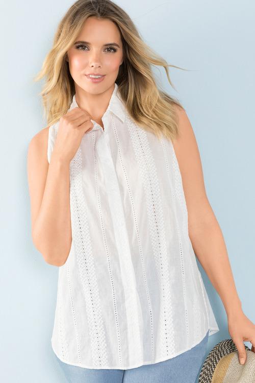 Sara Sleeveless Embroidered Shirt