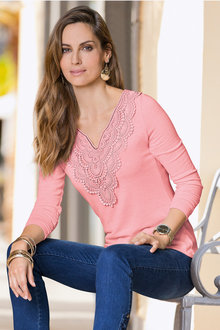 Together V Neck Sweater With Lace