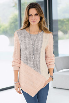 Together Colour Block Cable Sweater