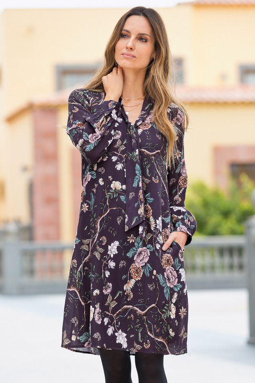 Together Tunic Dress With Tie Neck