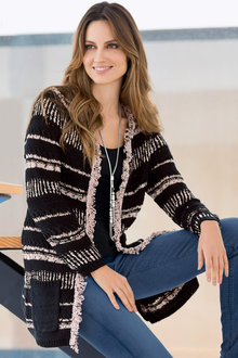 Together Long Cardigan with Fringing