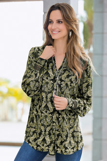 Together Printed Lace Cuff Shirt