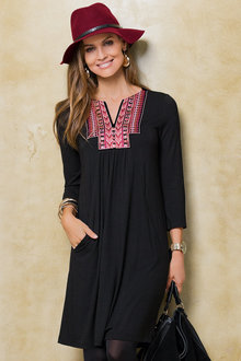 Together Embroidered Neckline Dress