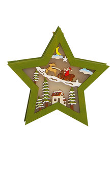 Light Up Santa Star Decoration