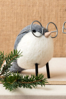 Wool Bird with Round Glasses Decoration