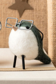 Wool Bird with Square Glasses Decoration