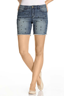 Emerge Star Print Denim Short