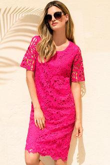 Capture Knit Back Lace Dress