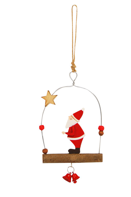 Santa on Branch Ornament