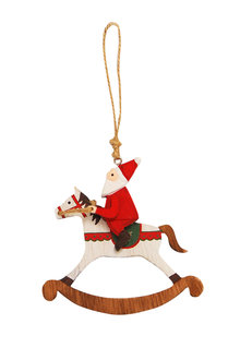 Santa on Rocking Horse Ornament