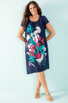 Plus Size - Sara Viscose Shift Dress