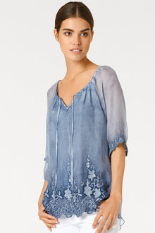 Heine Silk Blouse with Lace Detail