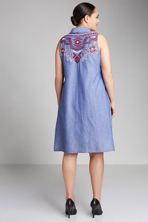 Plus Size - Sara Embroidered Sleeveless Shirt Dress