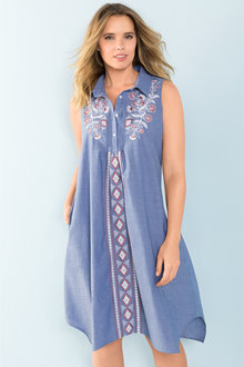 Plus Size - Sara Embroidered Sleeveless Shirt Dress