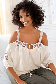 Heine Cold Shoulder Top with Embroidery - 184388