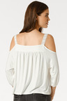 Heine Cold Shoulder Top with Embroidery