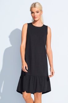 Emerge Sleeveless Ruffle Hem Tee Dress