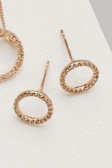 Next Stone Set Open Circle Earrings