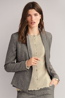 Next Textured Single Breasted Tailored Jacket - Petite