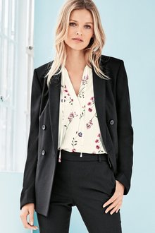 Next Double Breasted Tailored Jacket - Petite