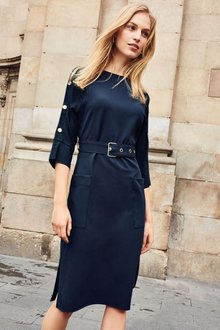 Next Button Detail Belted Dress - Tall